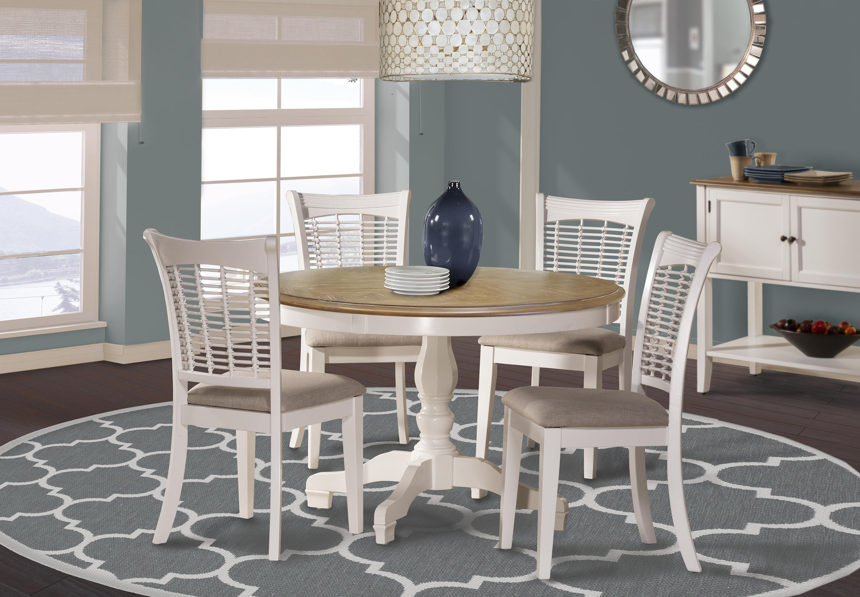 Hillsdale Bayberry White White Five Piece Dining Set   Wayside Furniture    Dining 5 Piece Set