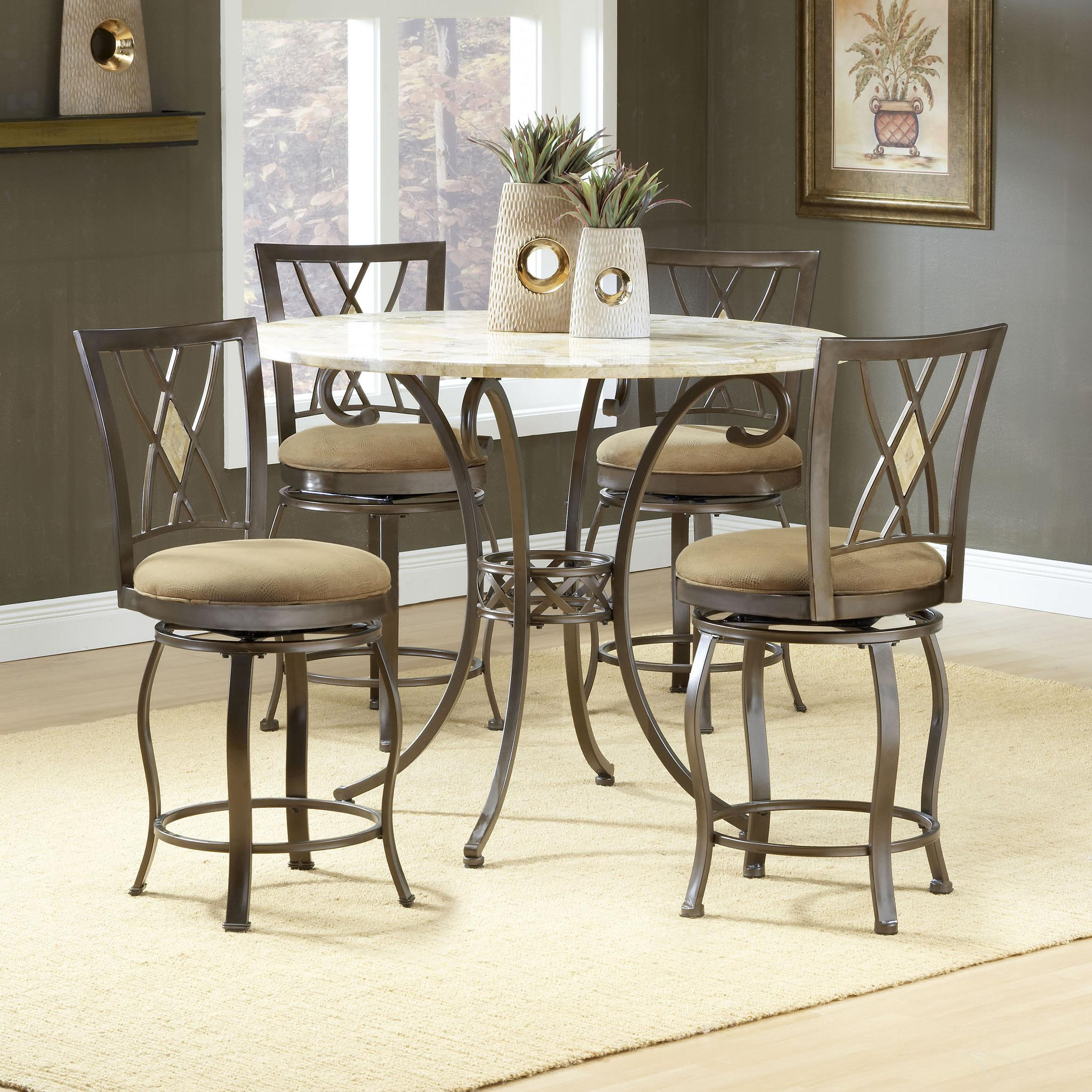 Hillsdale Dining Table Brookside Round Dining Table With Fossil Stone Top Rotmans