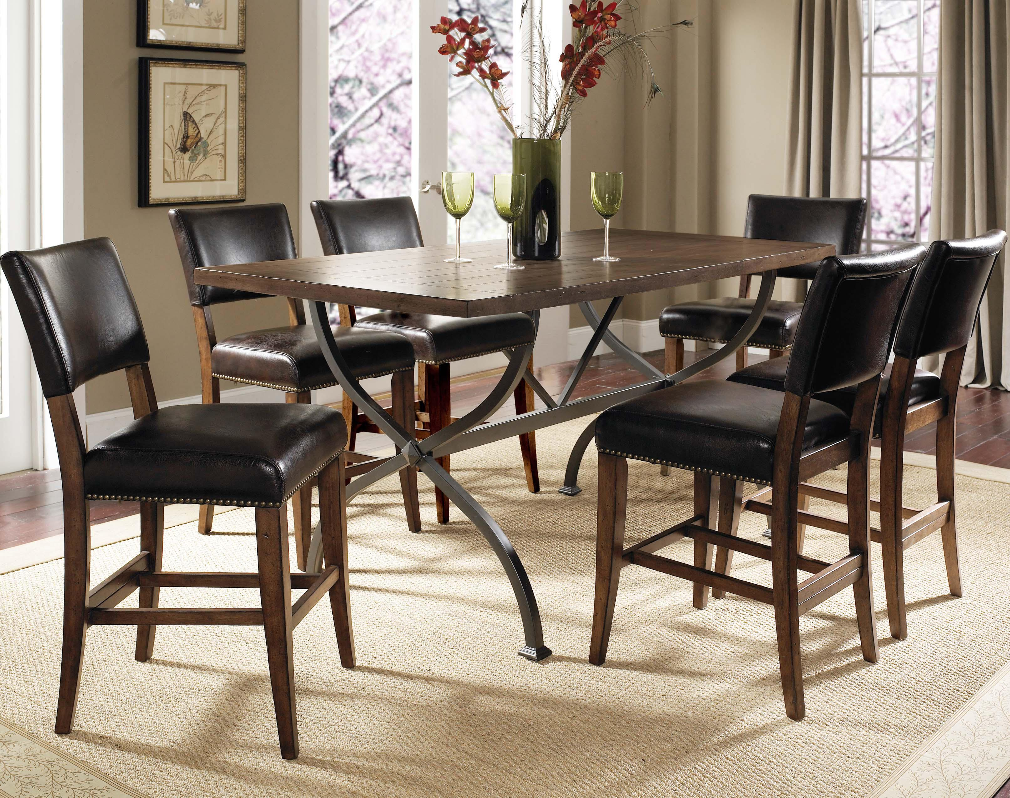 Hillsdale Cameron Round Wood Dining Table With Metal Acent Base   Wayside  Furniture   Kitchen Table