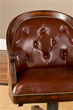 Top Grain Leather Upholstered Chairs with Button Tufting and Nailhead Trim