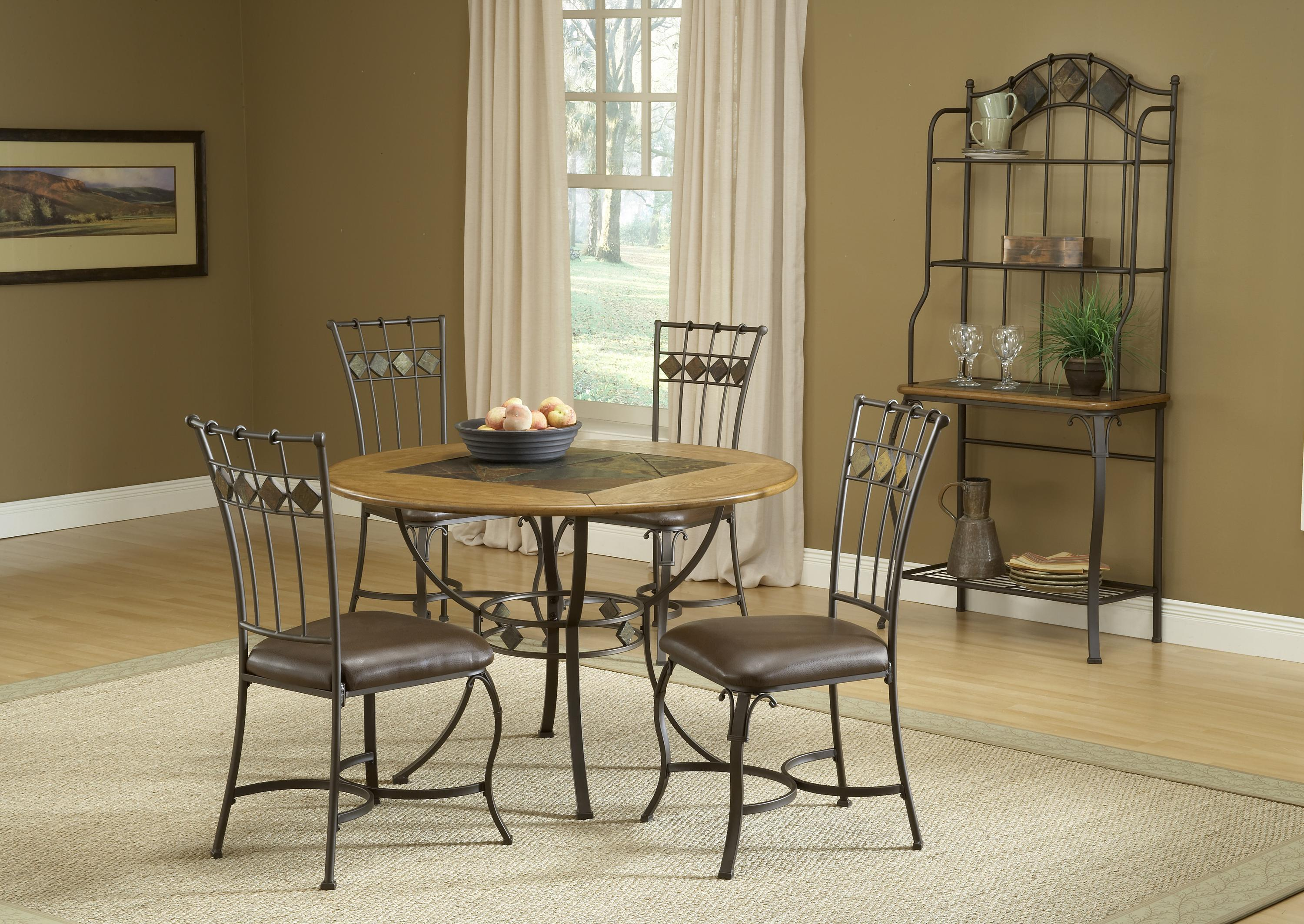 Hilale Lakeview 5 Piece Round Dining Set W Slate Chairs Wayside Furniture Sets