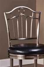 Detailed Slat Back Chair with Black Vinyl Upholstered Seat