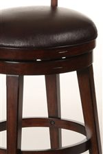 Brown Faux Leather Swivel Seat