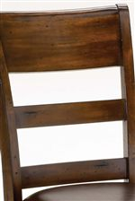 Traditional Ladder Back Style with a Hint of Transitional Design in the Wide Top Slat