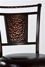 Hammered Copper Panel and Twisted Bar on the Stool Back