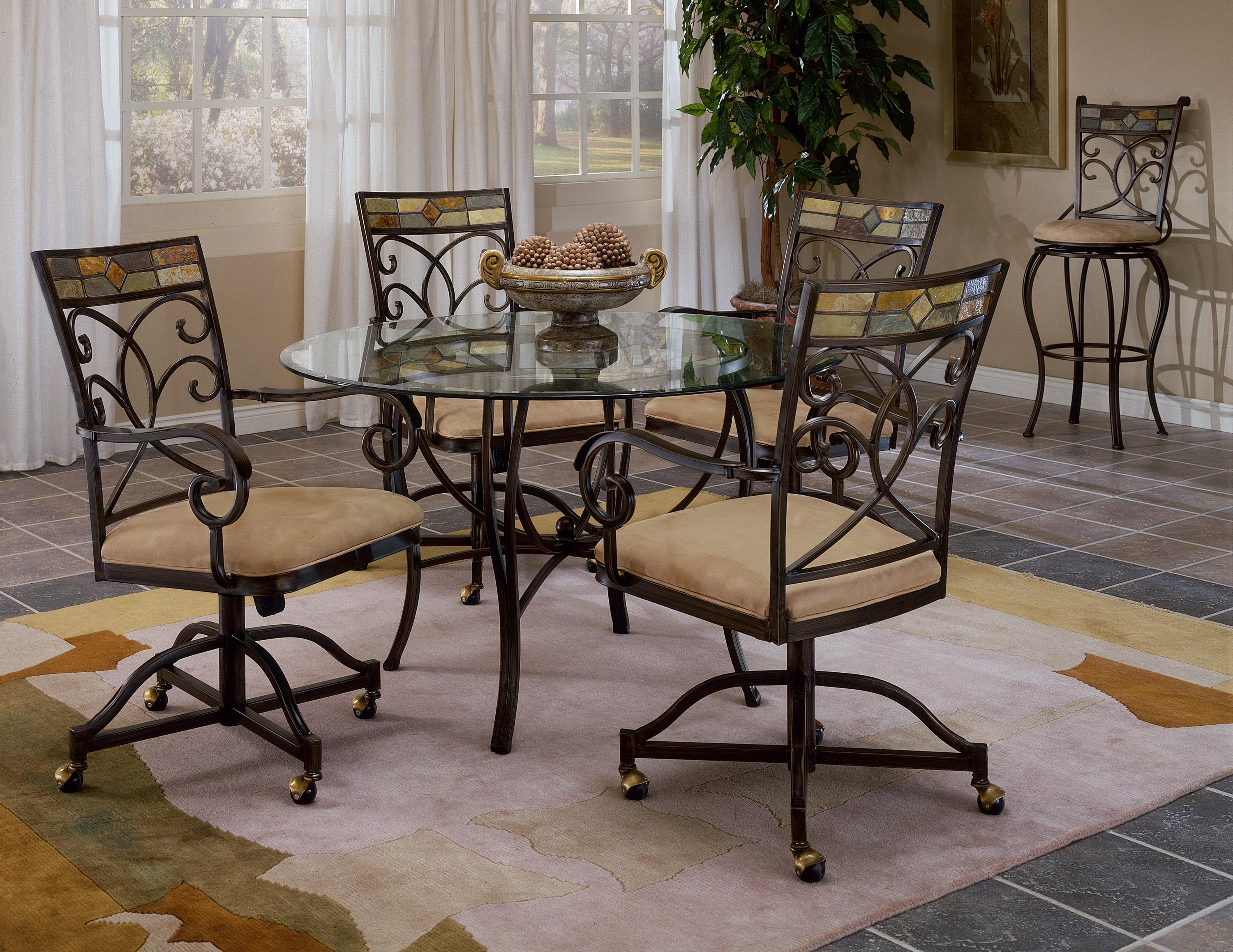 Hillsdale Pompei Slate Accented Dining Chair With Casters