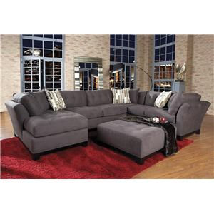 Hm Richards 9177 Group Transitional 3 Piece Sectional With Laf Chaise