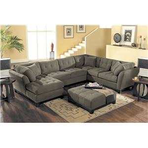 HM Richards Metropolis Tufted Sectional Sofa With Chaise Lounger