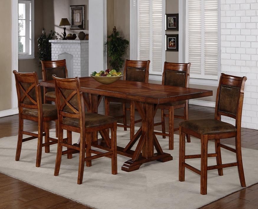 Holland House 1288 7-Piece Counter Height Trestle Table & X-Back ...