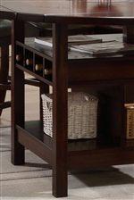 Pub Table Features Convenient Open Storage Compartment