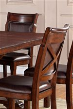 Brown Faux Leather Side Chairs with X Detail on Chair Back