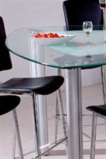 Triangular Glass Table Top with Rounded Corners and Pencil Edge