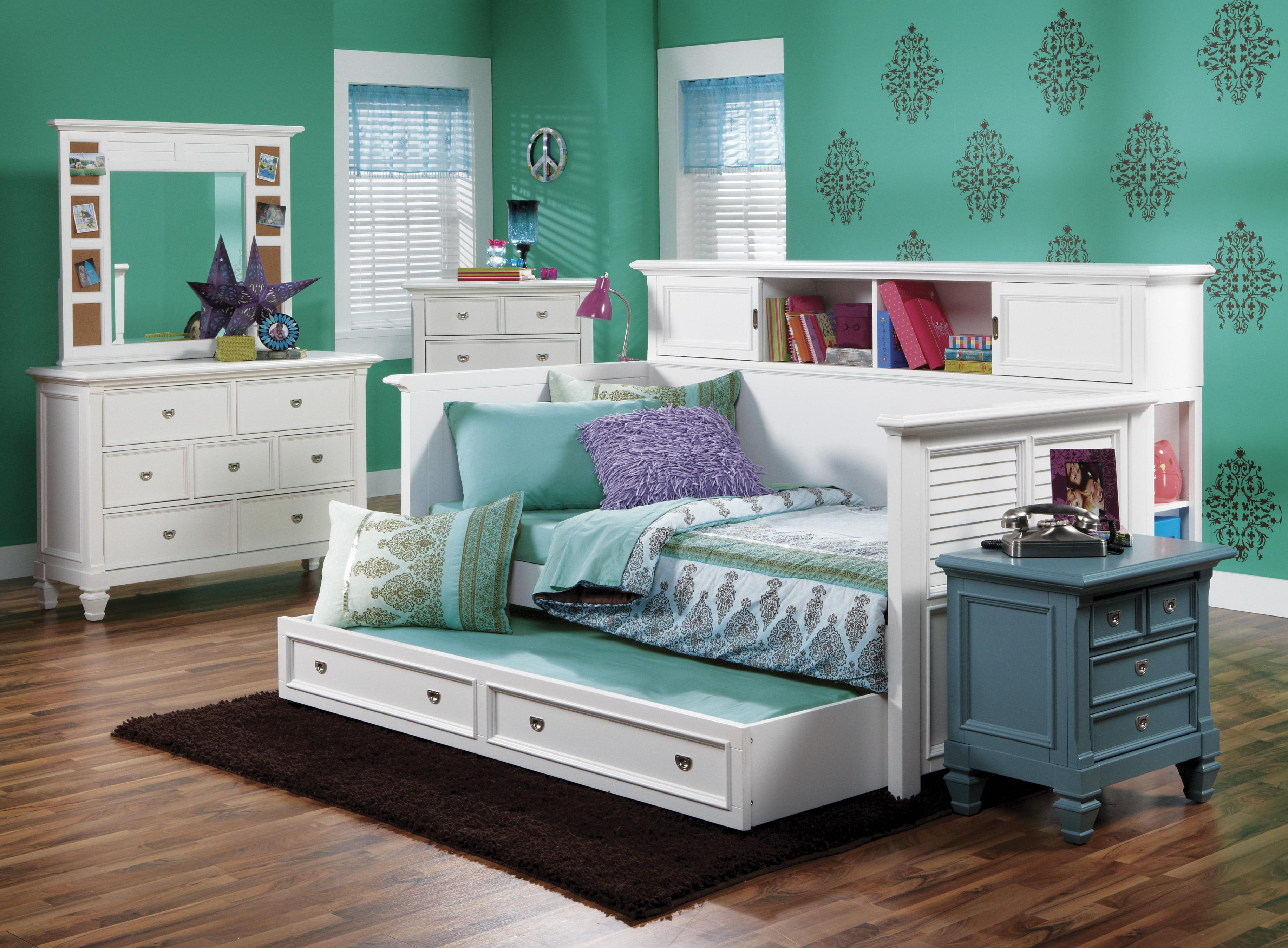 Day beds for teenagers - Holland House Breeze Youth Bookcase Day Bed With Louvre Panels And Trundle Lynn S Furniture Mattress Daybed