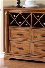 Wine Storage and Half Turned Pilasters on Server