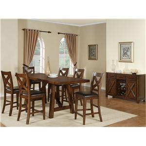Morris Home Furnishings Norwalk 5 Piece Trestle Table and Chair Set