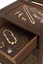 Felt-Lined Jewelry Chest Drawer and Lift Top