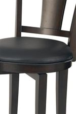 Stools and Chairs Feature Black Vinyl Upholstery