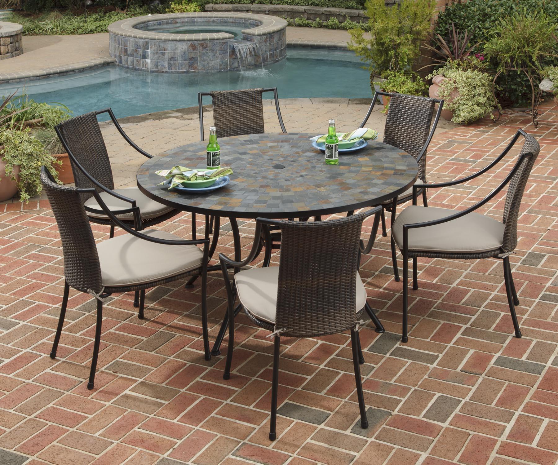 Home Styles Stone Harbor 7 Piece Round Slate Tile Patio