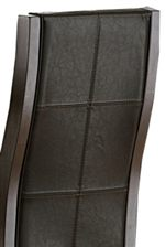 Features Curvaceous Upholstered Seat Backs with Decorative Stitching