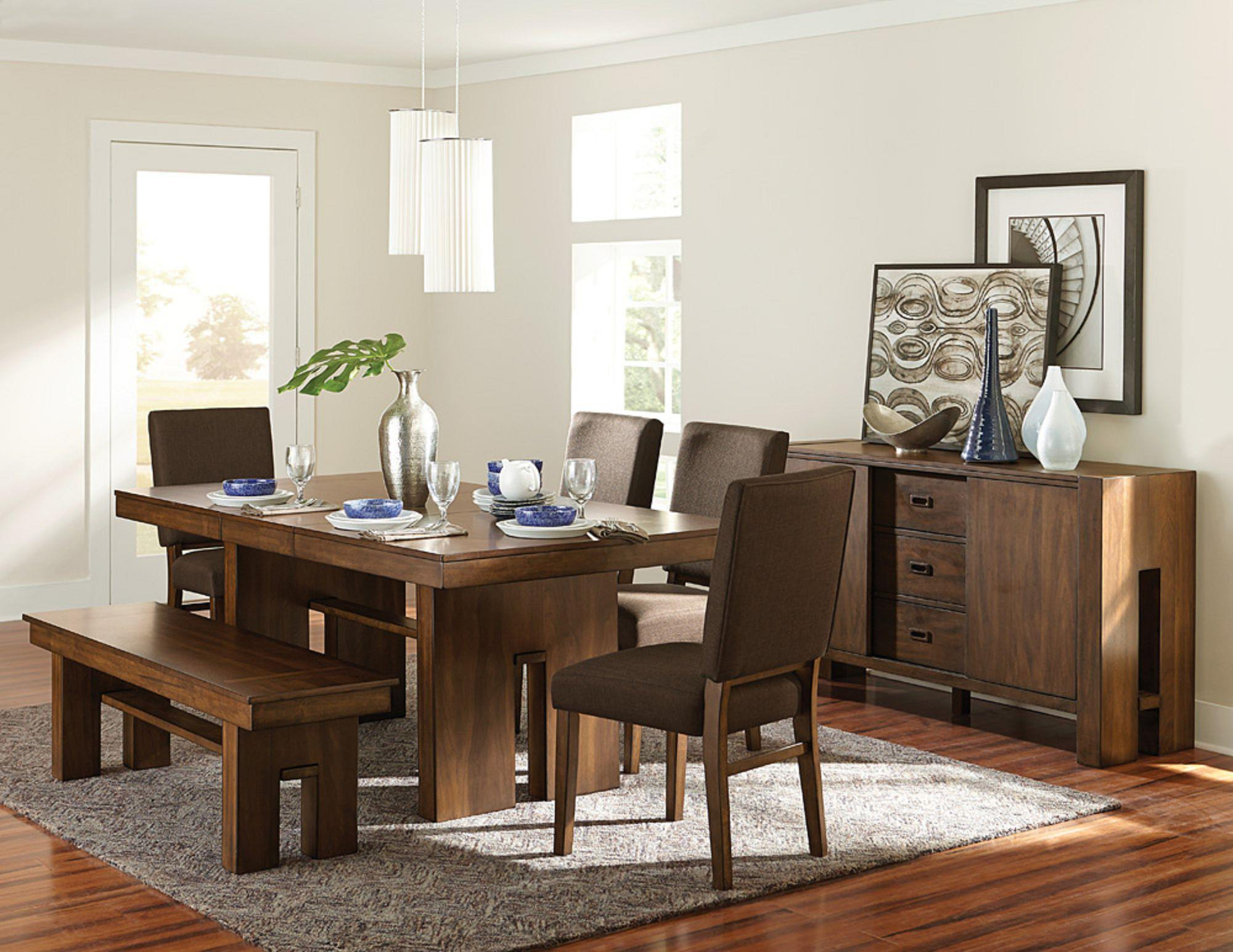 Homelegance Hedley Contemporary Dining Table With Self Storing Leaf