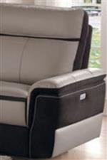 Top Grain Leather with Dark Fabric and Power Recline Mechanism