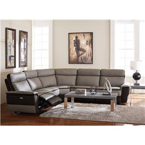 Homelegance Laertes Contemporary Power Reclining Sectional with Leather and Fabric