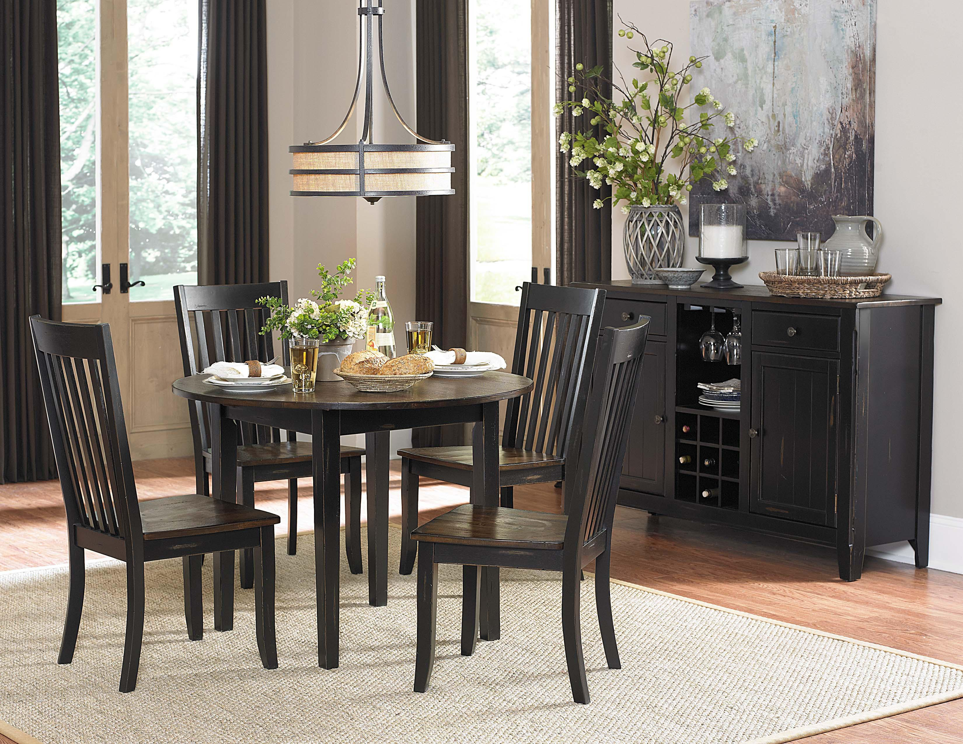 Homelegance Three Falls 5 Piece Dining Set with Round Drop Leaf Table    Fisher Home Furnishings   Dining 5 Piece SetHomelegance Three Falls 5 Piece Dining Set with Round Drop Leaf  . Round Dining Room Table Set For 8. Home Design Ideas