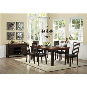 Homelegance Walsh 7 Piece Table & Chair Set with Leaf