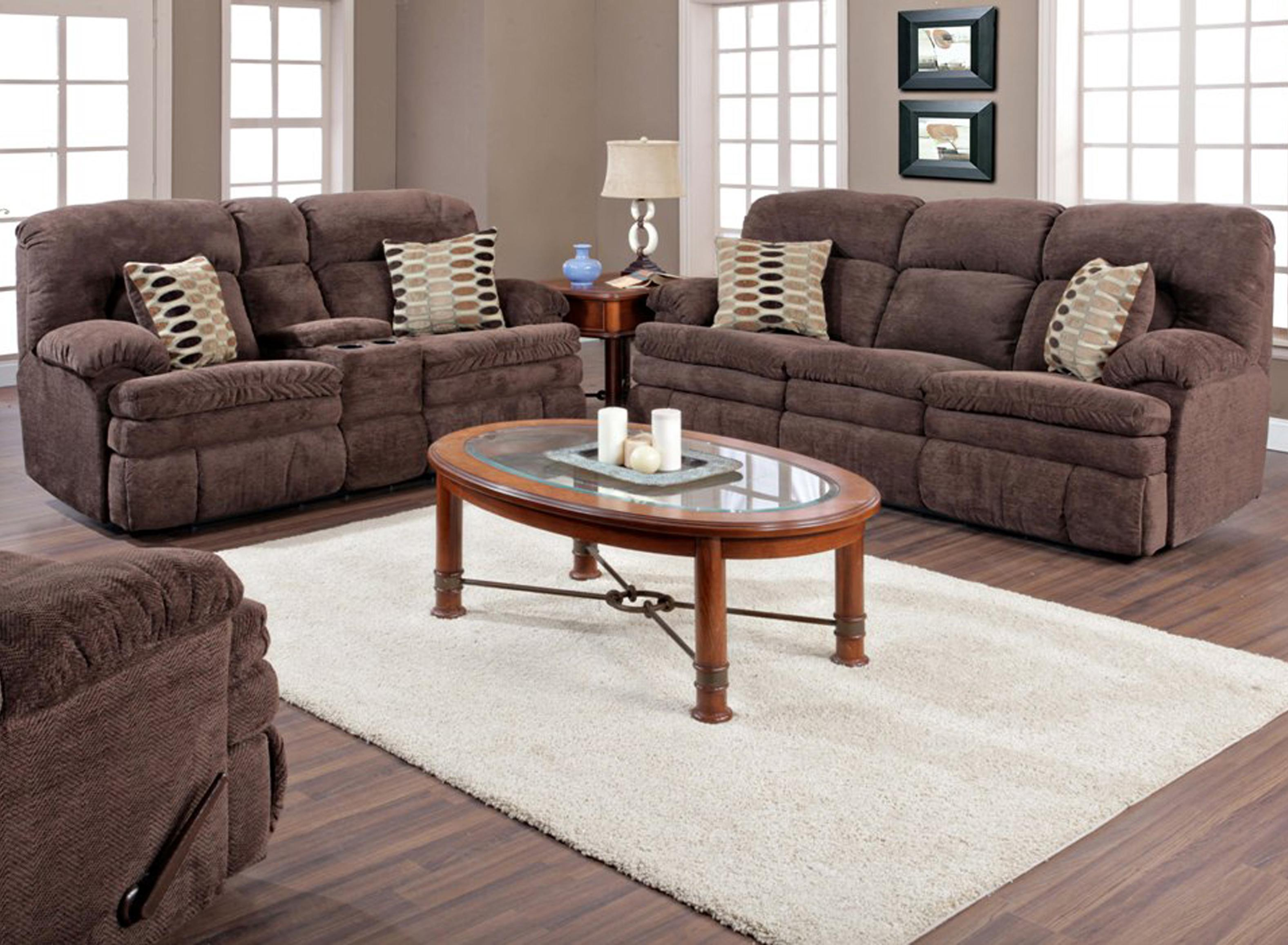 HomeStretch 103 Chocolate Series Double Reclining Sofa With Oversized Top  Seat Cushion | Bullard Furniture | Reclining Sofa Fayetteville, NC