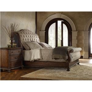 Hooker Furniture Adagio King Tufted Sleigh Bed with Upholstered Headboard and Footboard