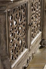 Boho-Inspired Fretwork Overlays on Select Doors and Drawers