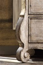Scroll Detailing on Legs, Headboards, and Aprons Highlights Romantic Vintage Shaping