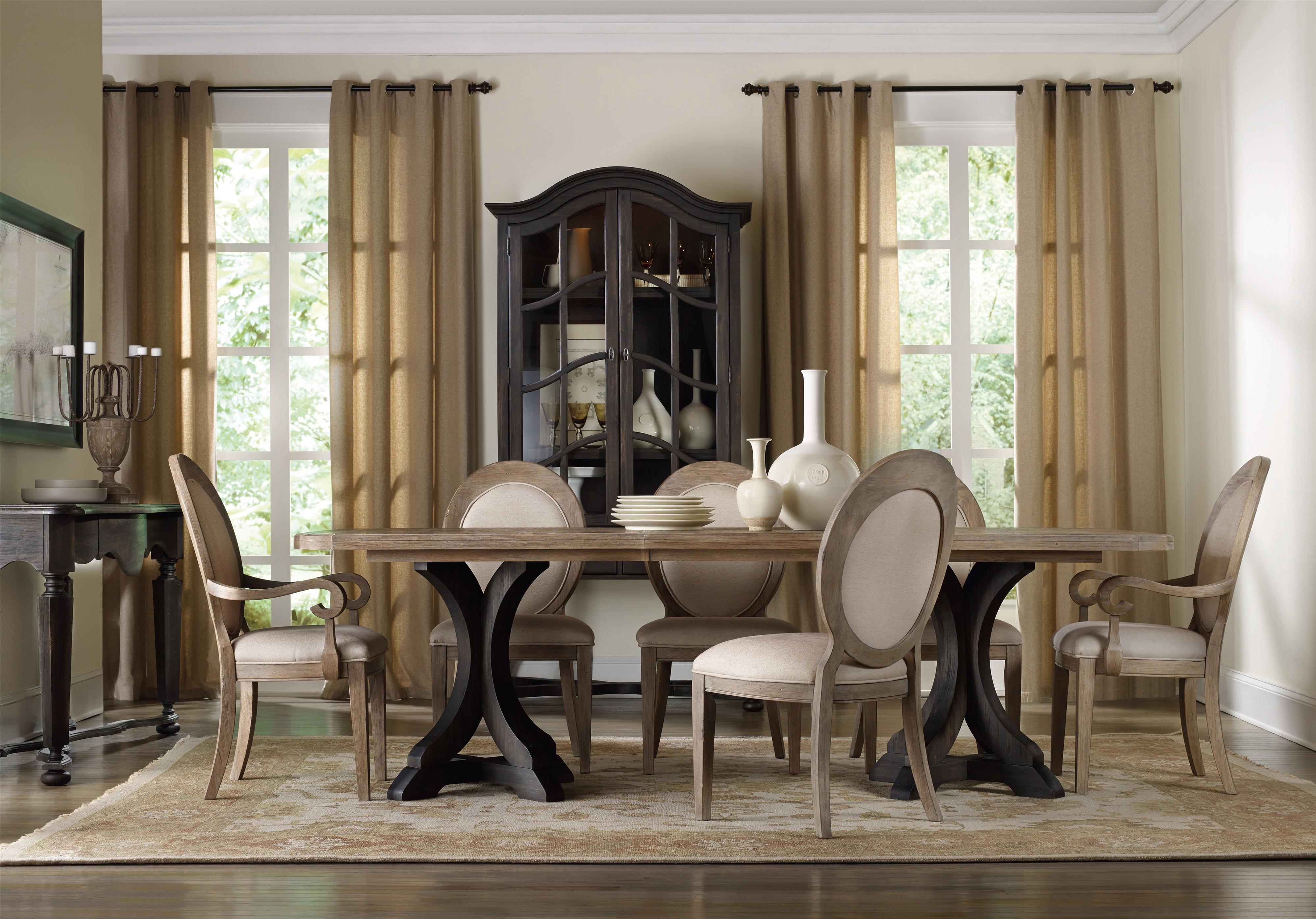 Hooker Furniture Corsica Formal Dining Room Group with Oval Back Chai - Item Number: 5280 Formal Dining Group 2