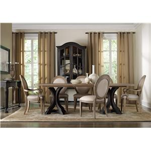 Hooker Furniture Corsica Formal Dining Room Group with Oval Back Chai