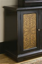 Etched Brass Paneled with Ornate Details.
