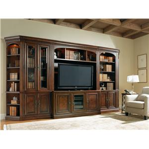 Hamilton Home European Renaissance II Five-Piece Library Wall Unit with Touch Lighting and Adjustable Shelves