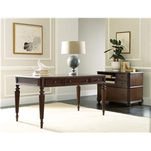 Hooker Furniture Home Office Rope Moulded Double Pedestal Desk with Leather Writing Surface and 2 Locking File Drawers