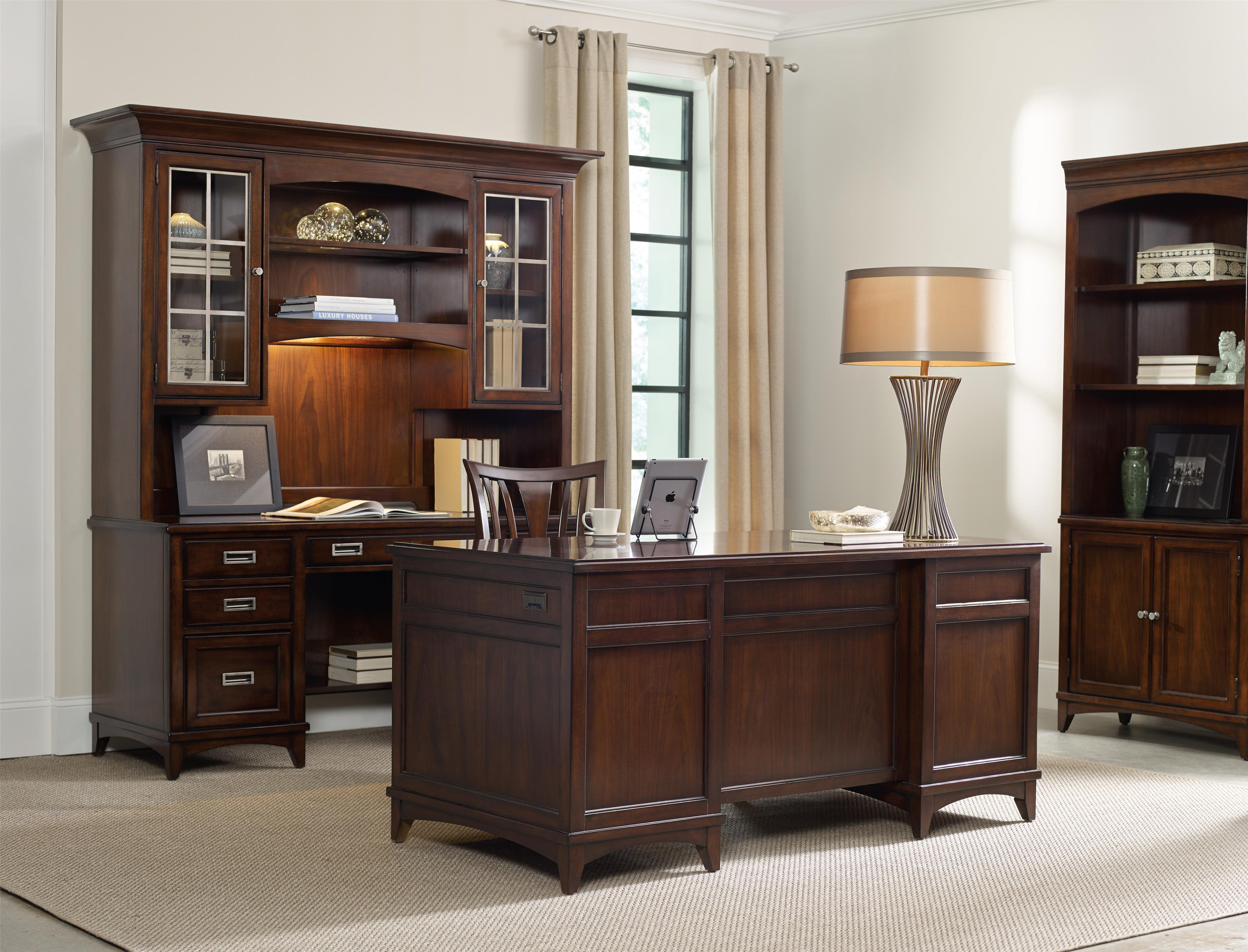 Hooker Furniture Latitude Walnut L Shaped Desk and Hutch Set with