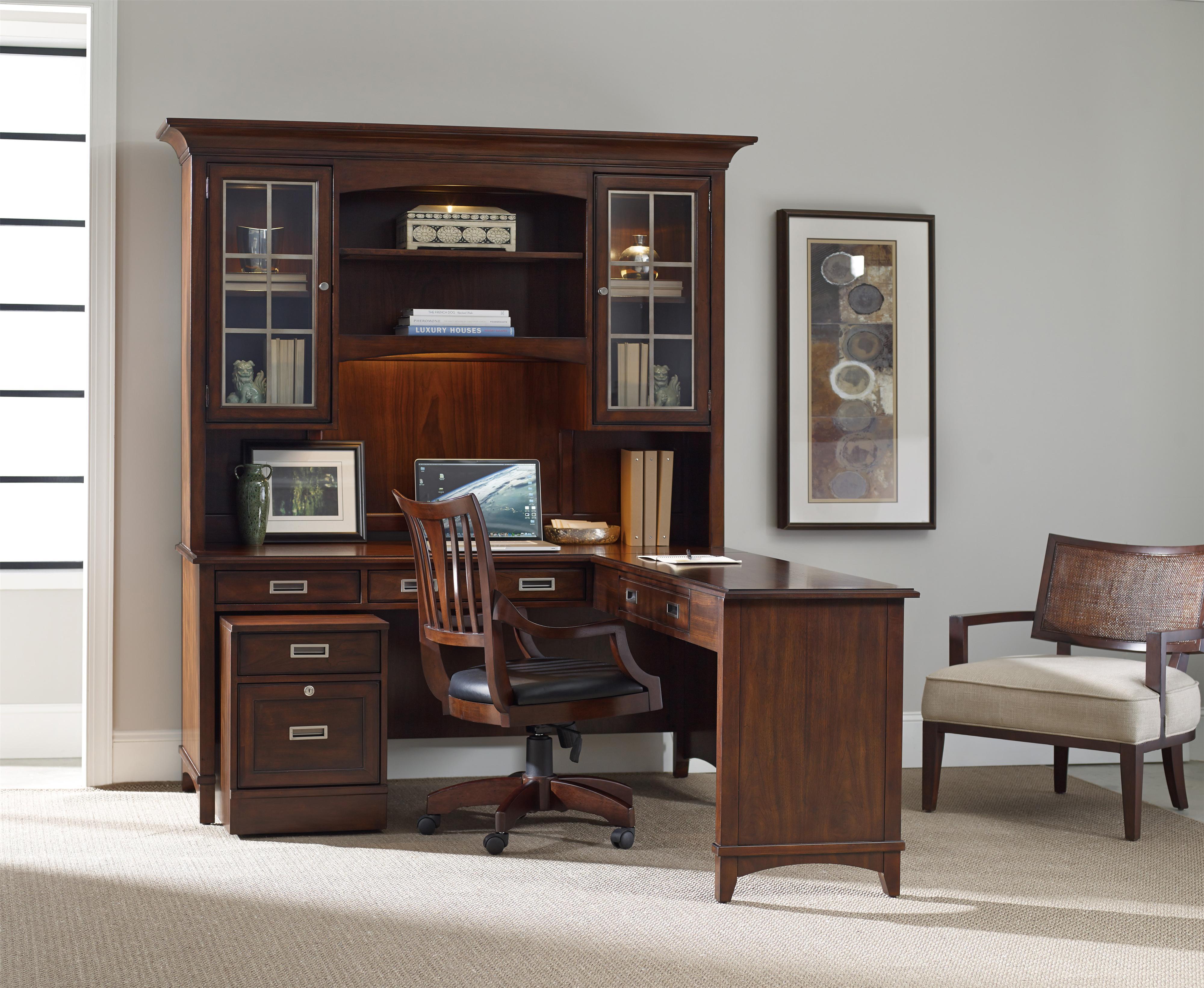 hooker furniture latitude walnut l shaped desk and hutch set with