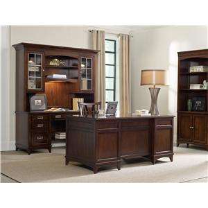 Hooker Furniture Latitude Walnut L-Shaped Desk and Hutch Set with Rolling Filing Cabinet