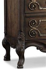Fleur-de-lis Wood Carving Details and Scalloped Aprons