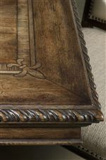 Fleur-de-lis Veneer Top and Traditional Rope Moulded Border on Dining Table