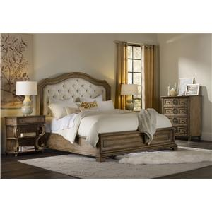 Hooker Furniture Solana King Upholstered Panel Bed with Diamond Tufting