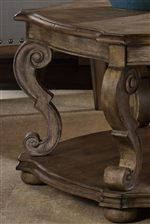 Serpentine-Shaped Legs and Pedestals with Scroll Details add Beautiful Curvature to the Collection