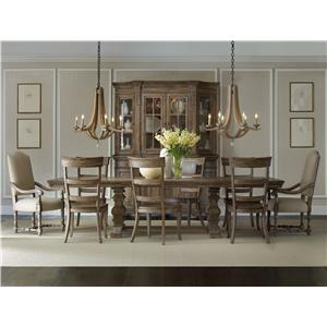 Hooker Furniture Sorella Casual Dining Set with Round Pedestal Table, Ladderback Arm Chairs and Ladderback Side Chairs