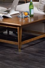 Tapered Legs Capped with Metal Ferrules Inspired by Mid-Century Modern Style