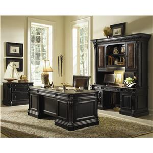 Hooker Furniture Telluride Bunching Bookcase with Touch Lighting and Door Storage