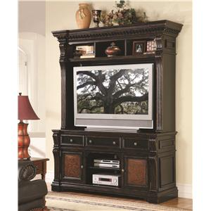Hooker Furniture Telluride Entertainment Wall Unit with Leather Accents