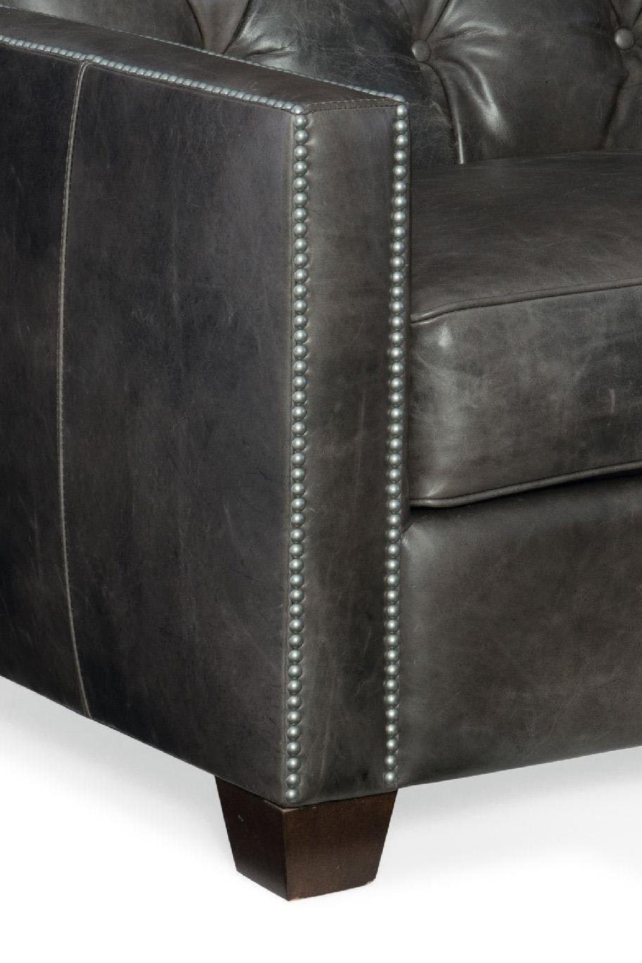 Hooker Furniture Trellis Transitional Stationary Leather Sofa With Nailhead  Trim - Wayside Furniture - Sofas