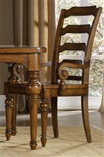 Ladder-back Chair with Elegant Scroll Armrests